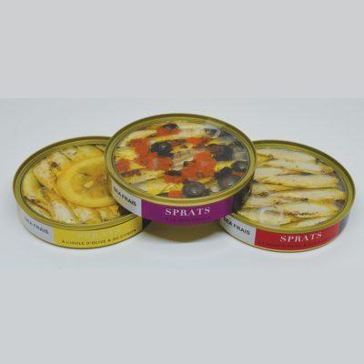 Le Fumoir de Saint-Cast présente un Lot de 3 boites de SPRATS Citron - 3 poivres - Provençale
