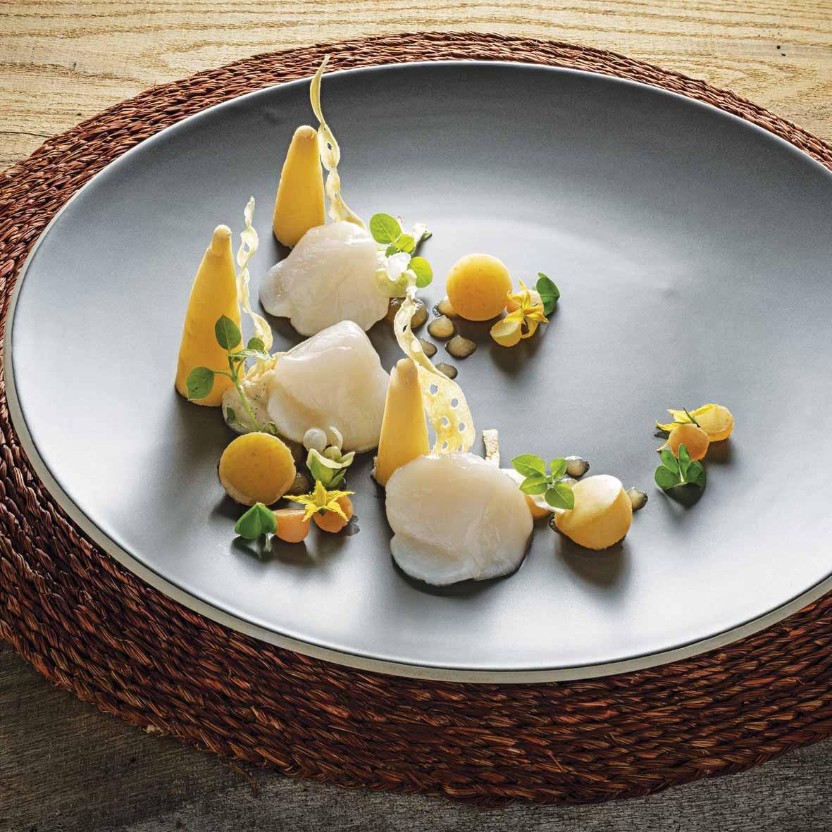 Le Chef David Le Bret présente la recette de Saumon Fumé d'Écosse au concombre et fenouil, bonne dégustation !